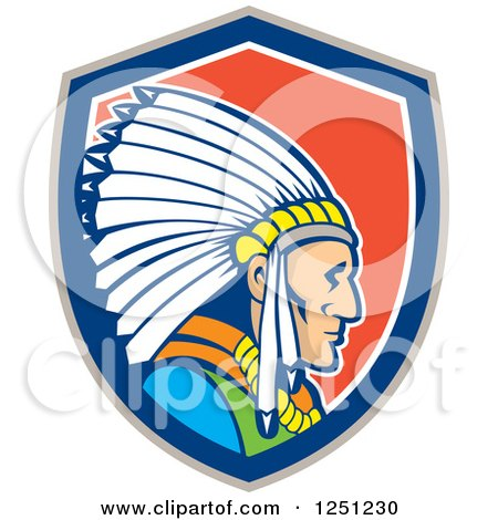 Clipart of a Cartoon Native American Indian Chief in a Red White Gray and Blue Shield - Royalty Free Vector Illustration by patrimonio