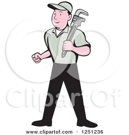 Cartoon Male Plumber with a Monkey Wrench Posters, Art Prints