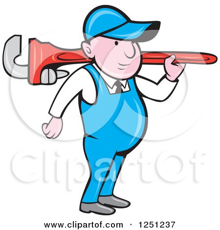 Cartoon Male Plumber Carrying a Giant Monkey Wrench on His Shoulder Posters, Art Prints