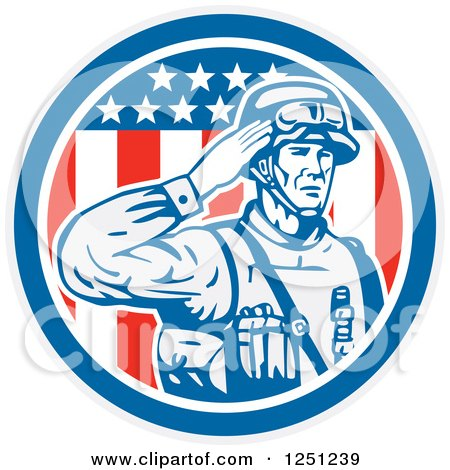 Clipart of a Retro Saluting American Soldier over an American Flag Circle - Royalty Free Vector Illustration by patrimonio