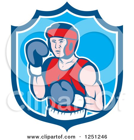 Clipart of a Cartoon Male Boxer Posing in a Blue Shield - Royalty Free Vector Illustration by patrimonio
