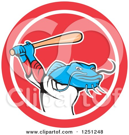 Clipart of a Cartoon Blue Catfish Baseball Player Batting in a Circle - Royalty Free Vector Illustration by patrimonio