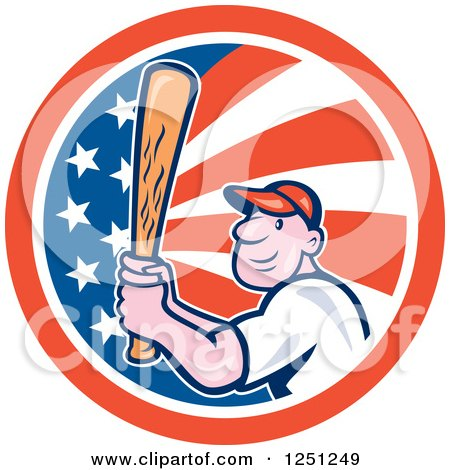 Clipart of a Cartoon Male Baseball Player Batting in an American Flag Circle - Royalty Free Vector Illustration by patrimonio