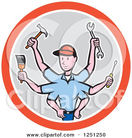 Clipart of a Cartoon Male Handman with Many Arms and Tools in a Circle - Royalty Free Vector Illustration by patrimonio