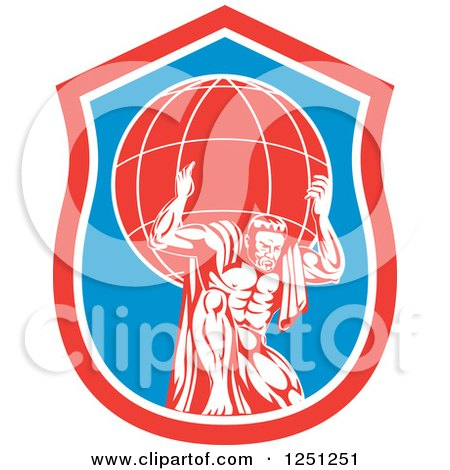 Clipart of a Retro Muscular Man, Atlas, Carrying a Globe in a Blue and Red Shield - Royalty Free Vector Illustration by patrimonio