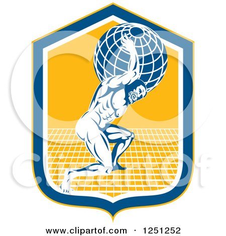 Clipart of a Retro Muscular Man, Atlas, Carrying a Globe in a Blue and Yellow Shield - Royalty Free Vector Illustration by patrimonio