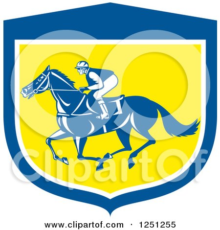 Clipart of a Retro Jockey Racing a Horse in a Blue White and Yellow Shield - Royalty Free Vector Illustration by patrimonio