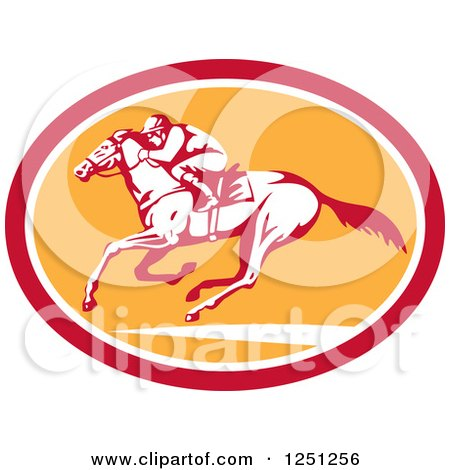 Clipart of a Retro Jockey Racing a Horse in a Red White and Orange Oval - Royalty Free Vector Illustration by patrimonio