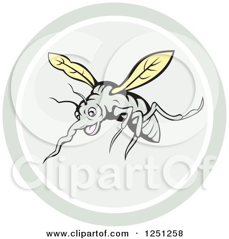 Clipart of a Cartoon Mosquito in a Circle - Royalty Free Vector Illustration by patrimonio