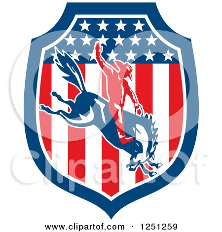 Clipart of a Retro Rodeo Cowboy on a Bucking Horse in an American Flag Shield - Royalty Free Vector Illustration by patrimonio