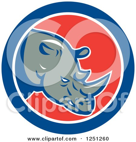 Clipart of a Retro Rhino in a Red White and Blue Circle - Royalty Free Vector Illustration by patrimonio