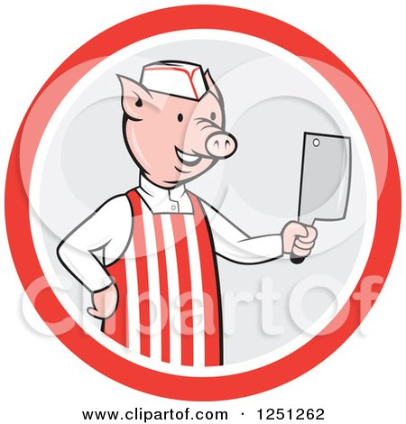 Clipart of a Cartoon Pig Butcher Holding a Cleaver Knife in a Gray and Red Circle - Royalty Free Vector Illustration by patrimonio
