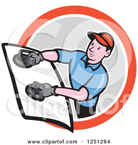 Clipart of a Cartoon Male Glass Windshield Installer in a Circle - Royalty Free Vector Illustration by patrimonio