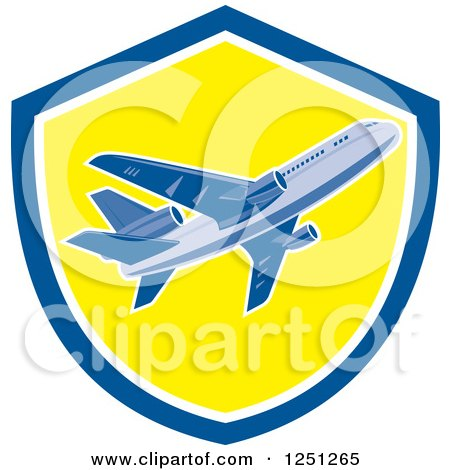Clipart of a Retro Commercial Airliner in a Blue and Yellow Shield - Royalty Free Vector Illustration by patrimonio