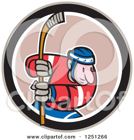 Clipart of a Cartoon Male Hockey Player with a Stick in a Circle - Royalty Free Vector Illustration by patrimonio