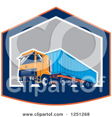 Clipart of a Retro Truck Hauling a Container in a Shield - Royalty Free Vector Illustration by patrimonio