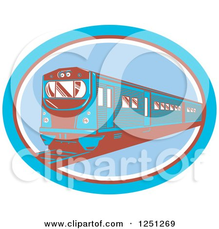 Clipart of a Retro Blue and Brown Train in an Oval - Royalty Free Vector Illustration by patrimonio