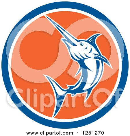 Clipart of a Retro Jumping Swordfish in a Blue White and Orange Circle - Royalty Free Vector Illustration by patrimonio