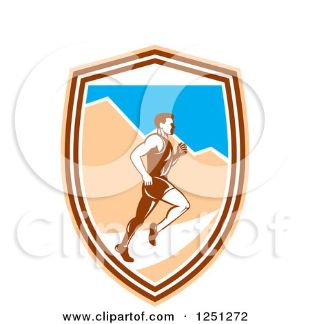 Clipart of a Retro Male Marathon Runner with Mountains in a Shield - Royalty Free Vector Illustration by patrimonio