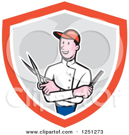 Clipart of a Cartoon Male Barber with Scissors and a Comb in a Shield - Royalty Free Vector Illustration by patrimonio