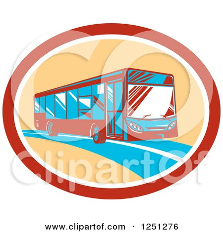 Clipart of a Retro Coach Bus in a Tan and Red Oval - Royalty Free Vector Illustration by patrimonio
