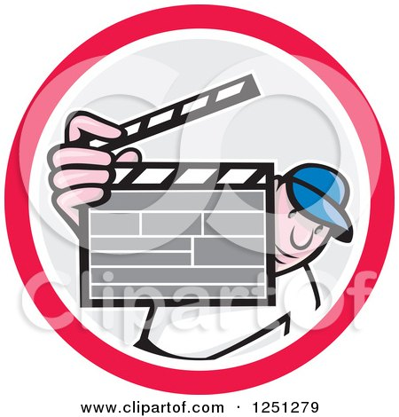 Clipart of a Cartoon Male Director Holding up a Clapperboard in a Circle - Royalty Free Vector Illustration by patrimonio