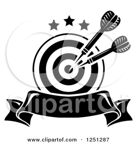 Black and white target with throwing darts and a banner posters art prints