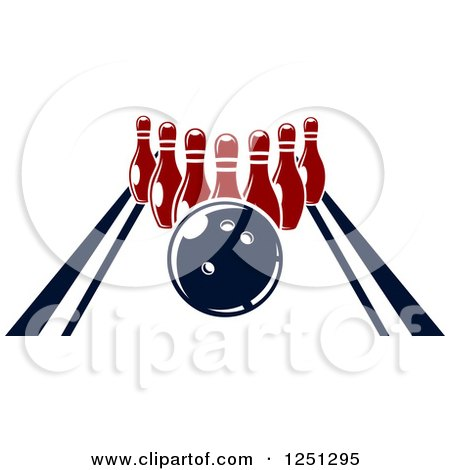 Clipart of a Bowling Ball on an Alley with Pins - Royalty ...