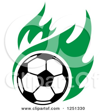 Clipart of a Soccer Ball and Green Flames - Royalty Free Vector Illustration by Vector Tradition SM