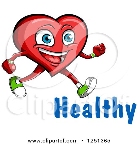Clipart of a Happy Exercising Heart with Healthy Text ...