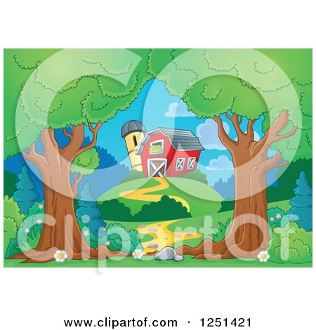 Clipart of Trees Framing a Path Leading to a Barn and Silo - Royalty Free Vector Illustration by visekart