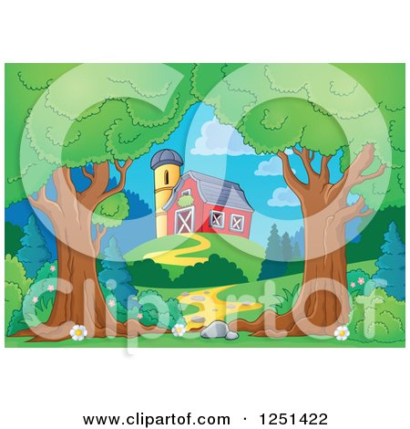 Clipart of Trees Framing a Path Leading to a Red Barn and Silo - Royalty Free Vector Illustration by visekart