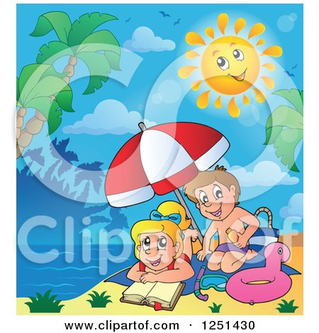 Clipart of a Happy Sun over Children on a Tropical Beach - Royalty Free Vector Illustration by visekart