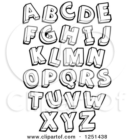 Clipart of Black and White Capital Letters - Royalty Free Vector Illustration by visekart