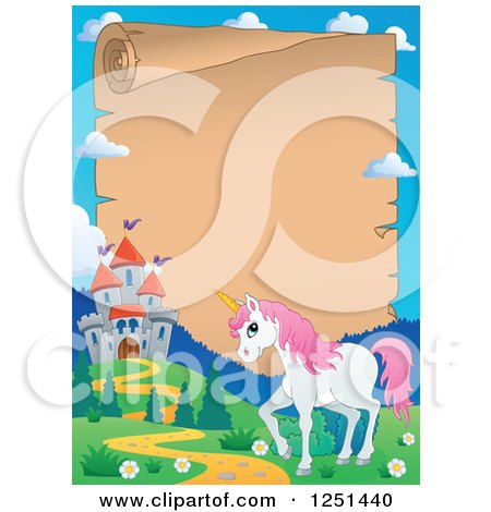 Clipart of a Parchment Scroll Bordered with a Castle and Unicorn - Royalty Free Vector Illustration by visekart