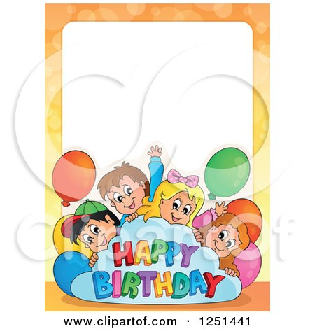 Clipart of a Border of Children with a Happy Birthday Cloud and Party Balloons - Royalty Free Vector Illustration by visekart
