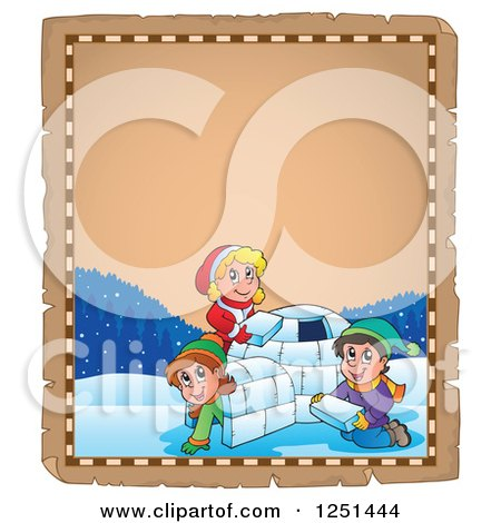 Clipart of an Aged Parchment Page with Children Building an Igloo - Royalty Free Vector Illustration by visekart