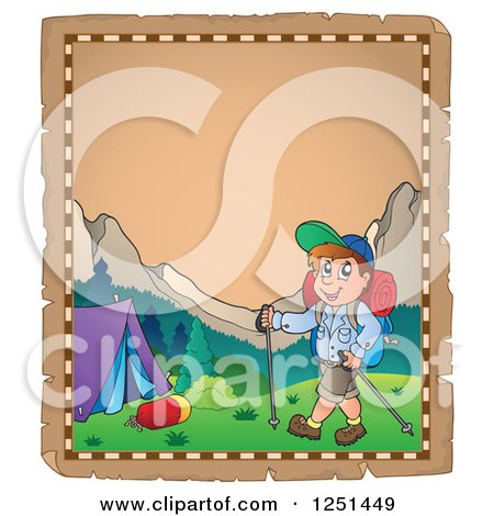 Clipart of an Aged Parchment Page with a Boy Hiking to a Tent - Royalty Free Vector Illustration by visekart