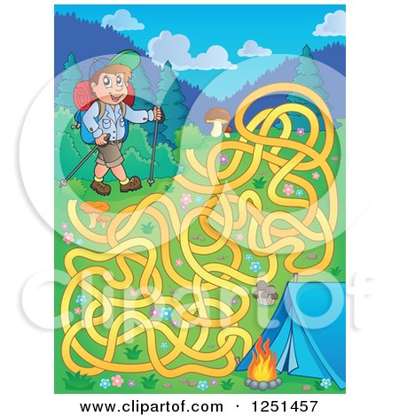 Clipart of a Male Hiker with a Camp Site and Maze - Royalty Free Vector Illustration by visekart