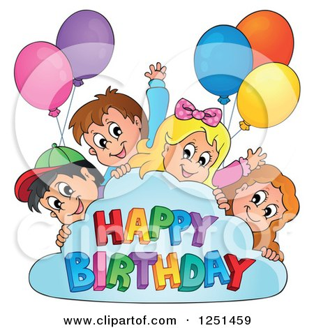 Clipart of Children Peeking Around a Cloud with Party Balloons and Happy Birthday Text - Royalty Free Vector Illustration by visekart