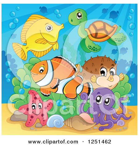 Clipart of a Sea Turtle Starfish Octopus and Marine Fish - Royalty Free Vector Illustration by visekart
