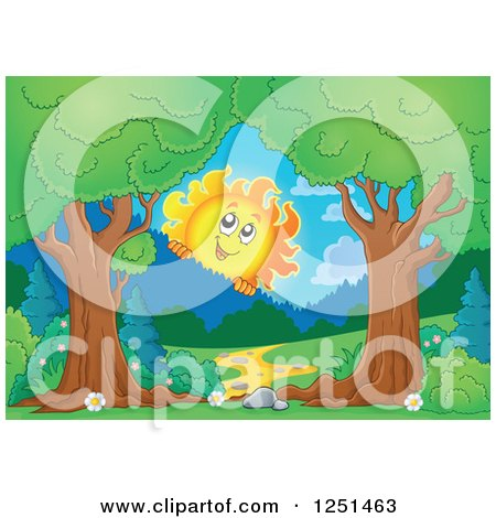 Clipart of Trees Framing a Path and Happy Sun Looking over Mountains - Royalty Free Vector Illustration by visekart