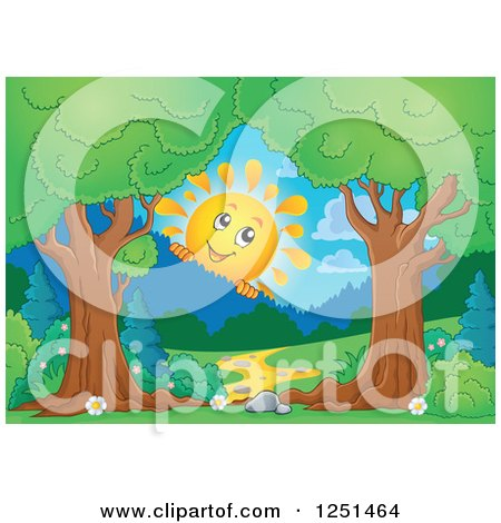 Clipart of Trees Framing a Path and Happy Sun Peeking over Mountains - Royalty Free Vector Illustration by visekart