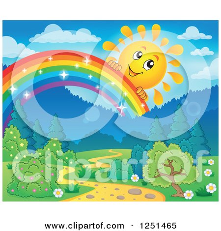 Clipart of a Happy Sun Peeking over a Magical Rainbow over a Path and Forest - Royalty Free Vector Illustration by visekart