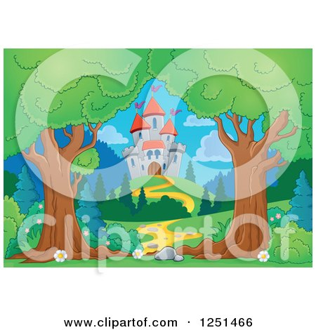 Clipart of Trees Framing a Path Leading to a Castle - Royalty Free Vector Illustration by visekart