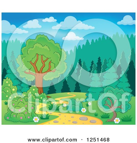Clipart of a Curvy Path Leading to a Forest - Royalty Free Vector Illustration by visekart