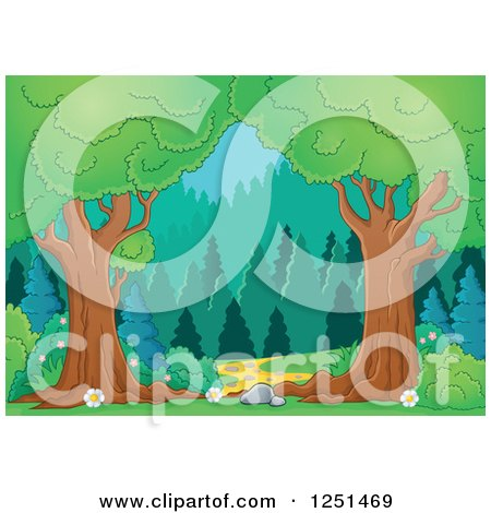 Clipart of Trees Framing a Path Leading to a Forest - Royalty Free Vector Illustration by visekart
