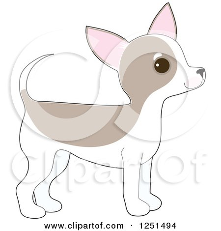 Clipart of a Cute Chihuahua Puppy Dog in Profile - Royalty Free Vector Illustration by Maria Bell