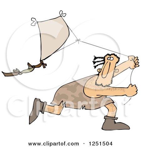 Caveman Running and Flying a Kite Posters, Art Prints