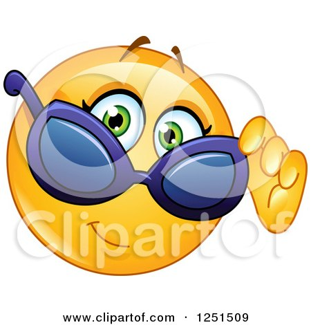 Clipart of a Cool Emoticon Smiley Looking over Sunglasses - Royalty Free Vector Illustration by yayayoyo